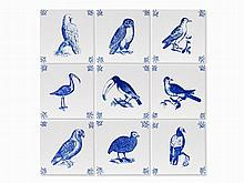 Mark Dion, Birds of Antwerp, 9 Ceramic Tiles, 1993