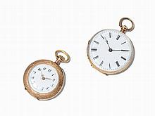 Two Lady's Pocket Watches of 14K Gold, Switzerland, c. 1900