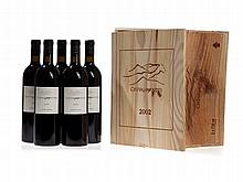 Original wooden case, 5 bottles 2002 Cheval des Andes, Mendoza