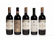 5 bottles Chianti Classico Riserva from 1990, 1995 and 1997