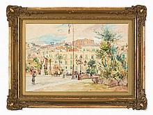 Pietro Scappetta (1863-1920), Cityscape, Watercolor, 19th C.