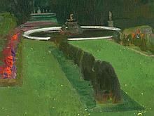 Karl Mediz, Painting 'Château Park in the Evening', c. 1900