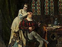 Adolphe Alexandre Lesrel (1839-1929), Surprise, Oil, 1891
