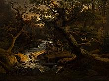 Wanderers by the River, Oil on wood, Germany, 19th C.