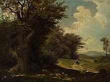 A. Arnold, Romantic Landscape, Oil Painting, Germany, 1857