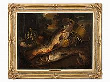 Still Life with Carp & Pike, Oil Painting, France, 18th C.