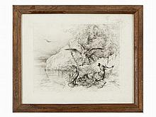 Friedrich Gauermann, Etching, Eagles with Dying Stag, c. 1840