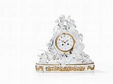 A Figural Mantle Clock, Bisque Porcelain, France, 19th C.