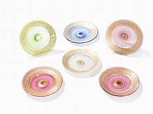6 Painted Plates of Colored Glass, Bohemia, Mid-19th C.