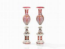 A Pair of Baluster Shaped Glass Vases, Bohemia, c. 1920