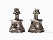 A Pair of Huqqa Bases with Engraving, Bronze, Persia, 19th C.