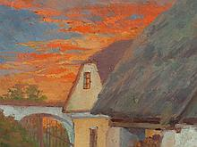 Oil Painting, 'Landscape in Red Sunset', Germany, around 1950