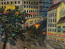 "Oil Painting, ""Cityscape at Night"", presumably Germany, 1950s"