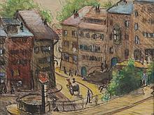Mixed Media, Monogramed, 'Small Street Scene', c. 1900