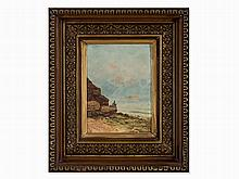 Lecchi, Oil Panting, North African Coast with Angler, 19th C.