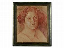 Red Chalk Drawing, Female Portrait, Presumably Germany, c 1900