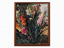 Franz Wlcek, Oil on canvas, Still Life With Flowers, 1950