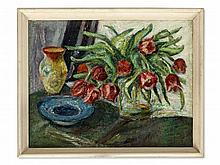 Oil Painting, Still Life with Red Tulips, around 1950