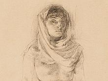 Walter Roshardt, Charcoal Drawing, Girl with Head Cloth c. 1920
