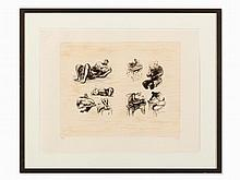 Henry Moore, Eight Sculptural Ideas, Color Lithograph, 1973