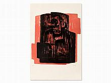 Henry Moore, Black on Red Image, Lithograph in Colors, 1963