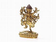 Gilt Bronze Figure of the Goddess Mahakala, 19th C.
