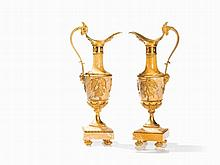 A Pair of Historicism Ewers of Marble & Bronze, France, c. 1900