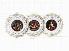 Meissen, 3 Plates with Fine Painting, , 2nd Half of 19th C.