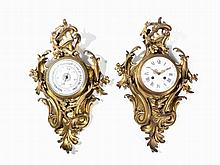 A Rococo-Style Cartel Clock and Barometer, France, 19th C