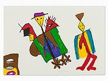 Eugène Ionesco, Color Lithograph, Figural Scene, France, 1983