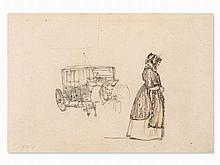 Rudolf von Alt (1812-1905), Lady and Carriage, Drawing, c. 1900