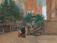 "Mixed Technique ""View on Gdanks"", Ferdinand Kruis, around 1910"