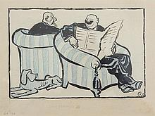 """Ink drawing """"Read the Newspaper"""" by Karl Arnold, 1920"""