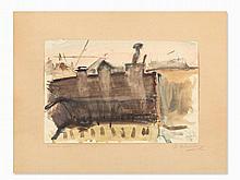 Georgios Bouzianis (1885-1959), Häuser, Watercolor, 1943