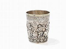 A French Historism Silver Beaker with Genre Scene, 19th C.