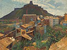 Kurt Leyde (1881-1941), Southern Village Landscape, Oil, 1935