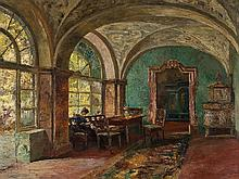 Paul Barthel (1862-1933), Interior With Lady, Oil, c. 1920
