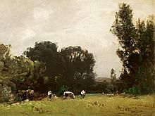 Ludwig Willroider (1845-1910), Grazing Cattle, Oil, c. 1900