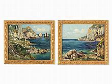 Attilio Pratella, Pair Of Coastal Views Of Capri, 1920/30s