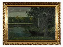 R. Alheit, Nightly Spreewald Landscape, Oil Painting, c. 1900
