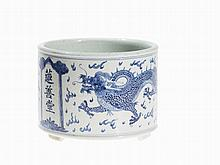 Large Blue and White Brush Pot with Dragons, Qing/Republic