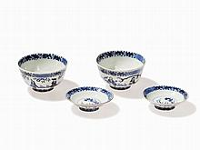 Pair of Blue and White Bowls with Cover, Wanli Mark, 19th C.
