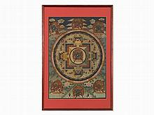 Thangka, Mandala with Dharmaraja Yama, Colors on Linen, 1900