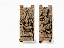 Pair of Wooden Carvings of Various Deities, 18th/19th C.
