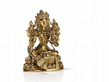 Sino-Tibetan Fire-Gilt Bronze of a Serene Tara, 18th/19th C