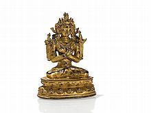 Fire-Gilt Sino-Tibetan Bronze Bodhisattva Vajradhara, 16/17th C
