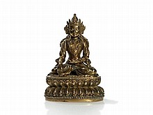 Rare Fire-Gilt Bronze Figure of Buddha Amithaba, China, Yongle