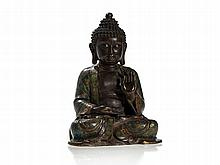 Bronze and Cloisonné Enamel Figure of Buddha, China, Qing