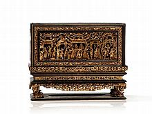 Carved Gilt-Wood and Lacquer Altar Box And Stand, Qing