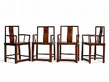 Set of Four Elegant Huanghuali Yoke Back Armchairs, 18th C